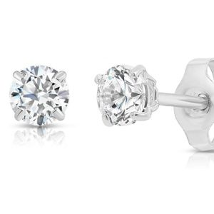 14K White Gold Solitaire Earrings 2.5mm